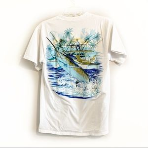 4/$20 GUY HARVEY White Graphic Pocket Tee